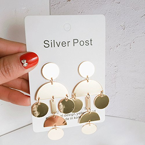 TKHNE Textured metal discs wind sector in Hong Kong gold earrings exaggeration big earrings simple personality Europe and retro earrings