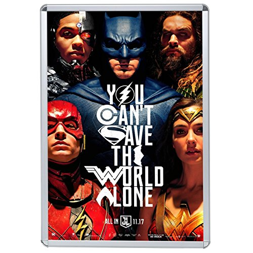 Silver Movie Poster Snap Frame 27x40 Inch, 1.25' SnapeZo Profile, Round-Cornered, Front-Loading, Professional Series