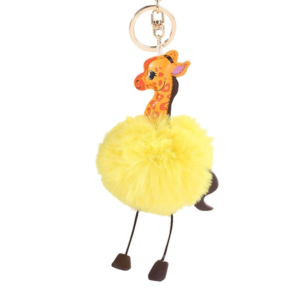 Gbell Puffy Pom Pom Ball Key Chains for Girls Backpack Schoolbag Pencil Case Purse Charm Pendant -Cute Giraffe Fluffy Pompom Keychain for Girls Toy Gifts,1Pcs 10 cm (Yellow)