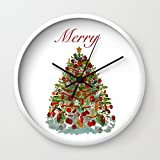 Society6 Merry Pillow Wall Clock White Frame, Black Hands