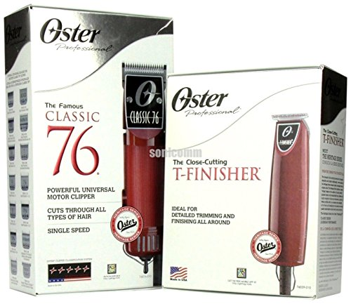 Oster Professional Classic 76 Clipper + T-Finisher Trimmer Salon Barber Combo by Oster
