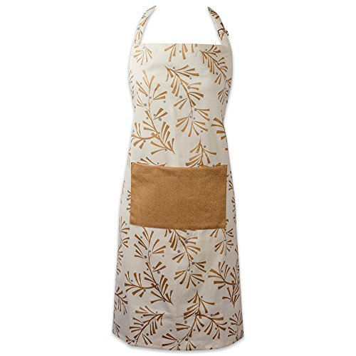 DII Cotton Adjustable Christmas Holiday Kitchen Apron with Pocket and Extra Long Ties,  Men & Women Chef Apron for Cooking, Baking, Crafting, BBQ-Metallic Holly Leaves