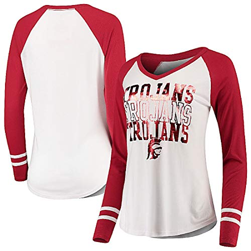 289c apparel Ladies USC Trojans White Hera Foil Screened Long Sleeve V Neck T Shirt (L=8/10)