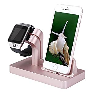 Apple Watch & iPhone Dual USB Charging Stand Cradle Dock Holder Post for Apple Products Watch Series 3 / 2 / 1 / iPhone X / 8 / 8 Plus / 7 / 7 Plus / 6S / 6S / 5 / SE Plus by Tech Express (Rose Gold)