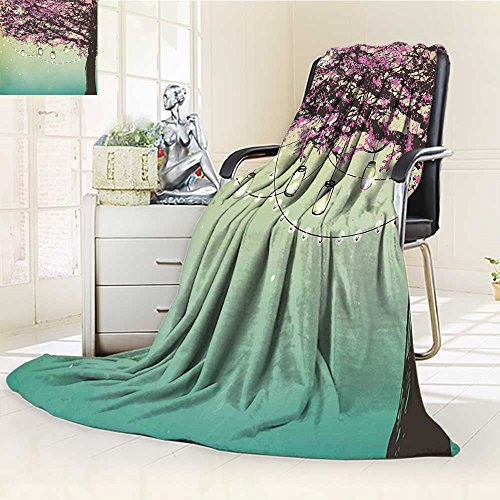 AmaPark Lightweight Blanket Theme The Panorama of a Birds on Tree Branches Cream Sage Green Digital Printing Blanket 80%OFF