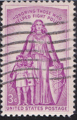 1957 US Postage Stamp 3¢ Polio Issue Red Lilac Rotary Press Printing - Perf. 10 ½ X 11