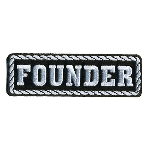 Hot Leathers  Founder  Black   White   High Quality Iron On   Saw On  Heat Sealed Backing Rayon Patch   4  X 1