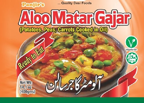 Panjir Ready to Eat Aloo Matar Gajar, Potatoes Peas Carrots Cooked in Oil, 14.1 oz cans (6 packs)