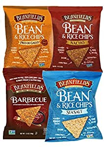 Beanfields Bean & Rice Chips, Healthy Vegan Snacks, Corn Free, (Count 4) Variety Pack with Barbecue, Pico De Gallo, Sea Salt and Nacho Flavors - 1.5 oz bags