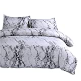 NTBED Marble Pattern Duvet Cover Queen 3 Pieces(1 Duvet Cover +2 Pillow Shams),Microfiber Quilt Cover Printed Bedding Sets