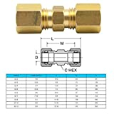 "Legines Brass Compression Tube Fitting, Union, 1/4"" OD x 1/4"" OD, Pack of 2"