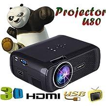 LED HD Micro Home Theater Projector ,Tuscom U80 1000lumens 1080P Multimedia Mini Portable HD Projector (Black)