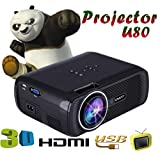 LED HD Micro Home Theater Projector ,Tuscom U80 1000lumens 1080P Multimedia Mini Portable HD Projector (Black)