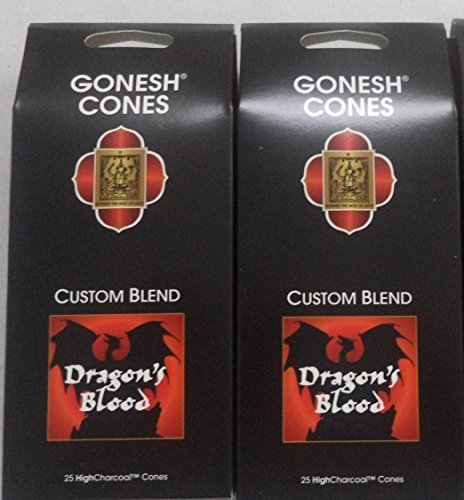 Gonesh Incense Cones, Dragon's Blood - Set of 2 Packs of 25, Total 50