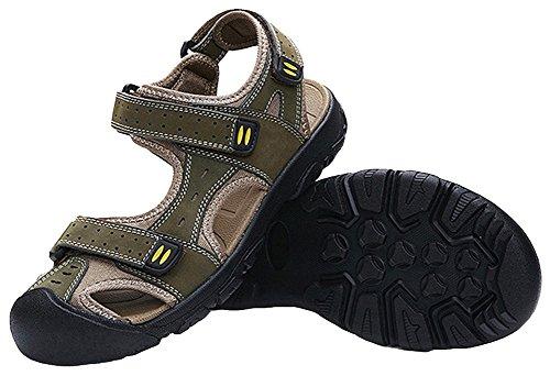 Agowoo Sandles Closed Toe Hook And Loop Sandalias De Playa Para Caminar Khaki_green
