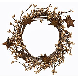 CWI Gifts Pip Ring with Rusty Stars, 4 by 8-Inch, Tea Stain 99