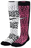 Nike Girls' Graphic Cotton Knee High Socks 2Pk-Pink/White/Black-Small
