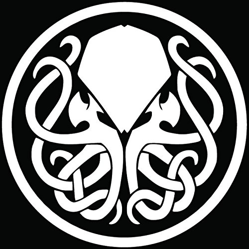 Cthulhu Badge Symbol Car Truck Window Bumper Vinyl Graphic Decal Sticker- (10 inch) / (25 cm) Tall GLOSS WHITE - Vinyl Cthulhu Little