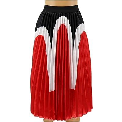 Havanadd-Clothing Faldas de Mujer Patrón de Contraste Estampado Cintura elástica Plisada Una línea Falda Larga Maxi Falda Casual (Color, tamaño : Metro): Hogar