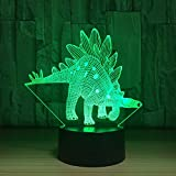 LT&NT Animal 3d stegosaurus dinosaur night light, Optical illusion visual lamp touch led desk Table lamp 7 colors change usb kids toy baby sleeping nightlight gift -A