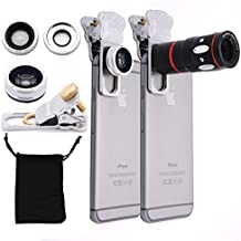 Jielin 4 in 1 Universal 10x Mobile Phone Telescope Clip Camera Lenses 0.67X Wide-angle 180 Degree Fisheye Macro Lens(Silver)