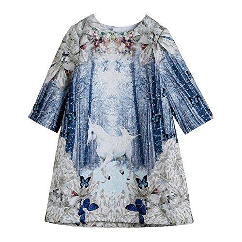 Kids Fashion world Girls Autumn Floral Party Unicorn Dress Size 8 Light -