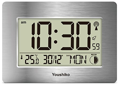 Radio Controlled LCD Wall Mountable and Desk Silent Clock ( UK & Ireland...