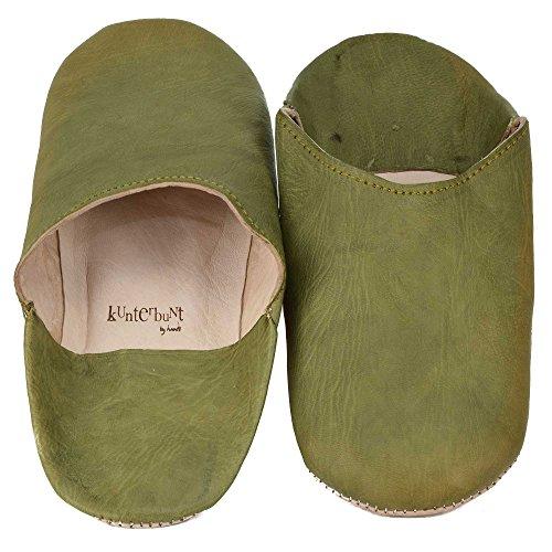 kunterbuntbyhands - Zapatillas de estar por casa de Piel para mujer verde verde