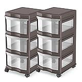 MRT SUPPLY Classic 3 Shelf Storage Organizer Plastic Drawers, Gray (2 Pack) with Ebook