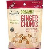 Woodstock Fruit - Organic Ginger Chunks - Crystallized - 5.5 oz - case of 8 - Vegan - No Sodium