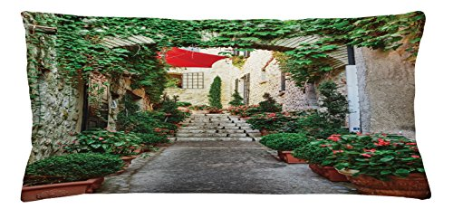 Mediterranean Throw Pillow Cushion Cover by Ambesonne, Narrow Street with Flowers Rural Wine Town in Southern France Provinces Photo, Decorative Square Accent Pillow Case, 36 X 16 Inches, Grey (Southern Textiles Square Pillow)