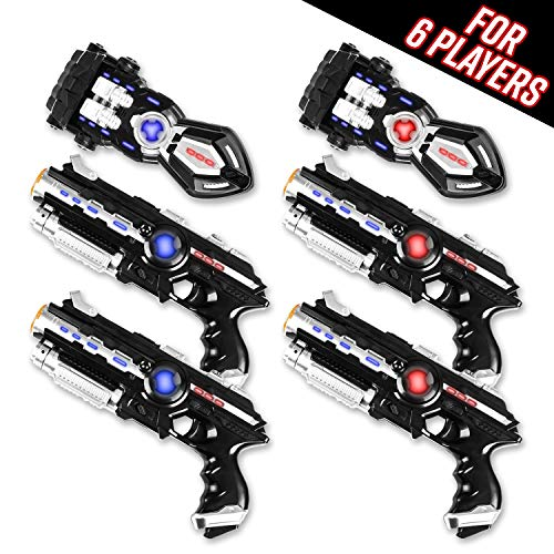 Power Tag Infrared Laser Tag Gun & Glove Set - for Kids & Adults - 6 Player Pack with 4 Guns and 2 Battle Blasters - Infrared - Laser Tags