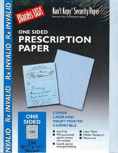 Blue Security Prescription Paper - 250 Sheets by Blanks/USA