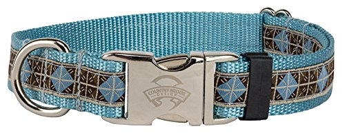 Country Brook Design Premium Blue and Brown Diamond Woven Ribbon on Ocean Blue Dog Collar Limited Edition - Large