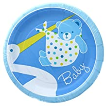 "Custom & Unique {7"" Inch} 8 Count Multi-Pack Set of Medium Size Round Circle Disposable Paper Plates w/ Stork Delivering Baby Boy Bear Wrapped in Blanket ""Blue, Yellow & White Colored"""
