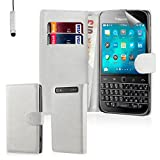 32nd® Book wallet PU leather flip case cover for BlackBerry Classic Q20 - White
