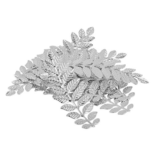 Glass Beads Leaf Pendant Necklace - Coobbar 24pcs Leaf Branches Charms Pendants for Wedding Home Decor DIY Bracelet Necklace Earrigns (Silver)