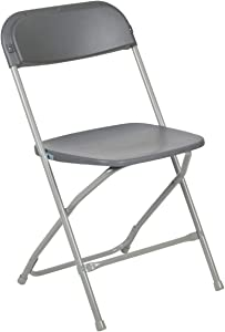 Flash Furniture Hercules Series 800-Pound Premium Plastic Folding Chair, Grey