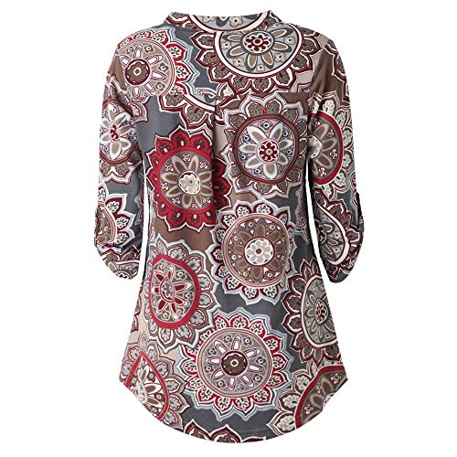 8f417589cc3c7 HGWXX7 Women Tops Long Sleeve Floral Printed V-Neck Casual Tunic Blouses  T-Shirt(XL,Wine)