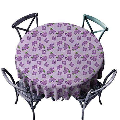 duommhome Mauve Fitted Tablecloth Kitsch Botany Flower Garden Field Pattern with Perennial Florets Design Print Great for Buffet Table D43 Purple and Green