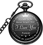 LYMFHCH Black Personalized Pocket Watch Gifts for