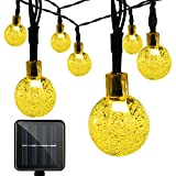 Vmanoo Christmas Solar Powered Globe Lights,30 LED (19.7 Feet) Globe Ball Fairy String Light for Outdoor, Xmas Tree, Garden, Patio, Home, Lawn, Holiday,Decor, Buy 4 Get 1 Free (Warm White) ()