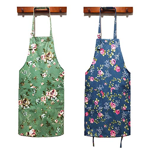 HOMKIN Women Kitchen Apron-2 Pack, Cotton Canvas Flower Apron, Floral Pattern Apron with Pockets for Women Chef Apron(Green&Blue).