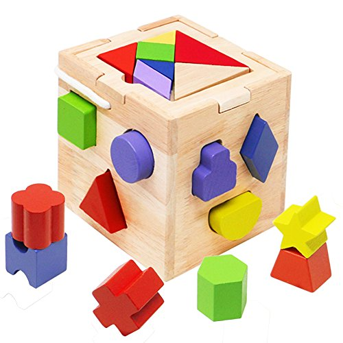 Toyssa Wooden 2 in 1 Educational Toys Shapes Sorter Tangrams Set Stacking Sorting Blocks for Kids