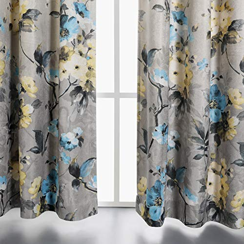 MYSKY HOME Floral Design Print Grommet top Thermal Insulated Faux Linen Room Darkening Curtains, 52 x 84 Inch, Blue, 1 Panel ()