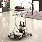 Generic art Tray Storage Kitchen Glass Tea Utility Table ty Table Metal Rolling rt Tray Chrom Serving Cart ling Servi Tray Chrome Glass lling Servi