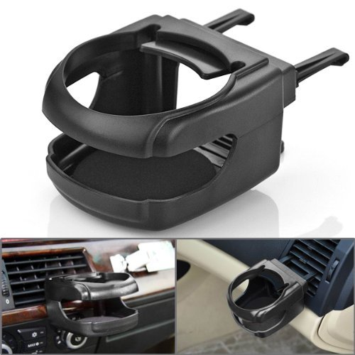 1pc Black Hard Clip-on Two Clips Fixed On Car Existing Air Conditioner Vent Mount Insert Soft Drink Beverage Water Coffee Cup Bottle Can Stand Holder Universal For SUV Trunk Vehicle Automobile