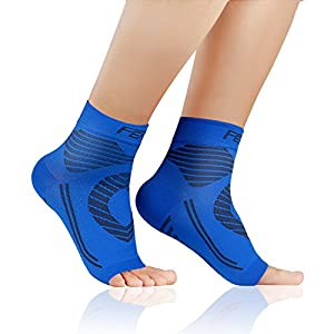 Featol Plantar Fasciitis Socks(1 or 2 PAIR) with Arch Support Ankle Support for Men and Women, Ankle Compression Socks Foot Sleeve to Relieve Arch Pain, Better than Night Splint (Blue, Large)