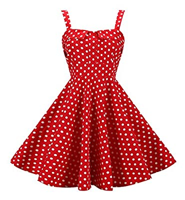 BI.TENCON Women's 1950's Vintage Strap Summer Cocktail Swing Party Dresses