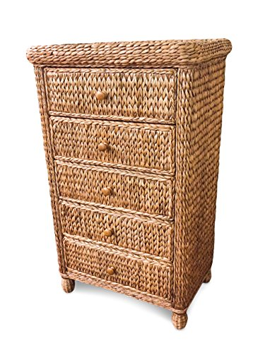 Wicker Paradise BL106 Key West Miramar Natural Fibers Five Drawer Chest, Large